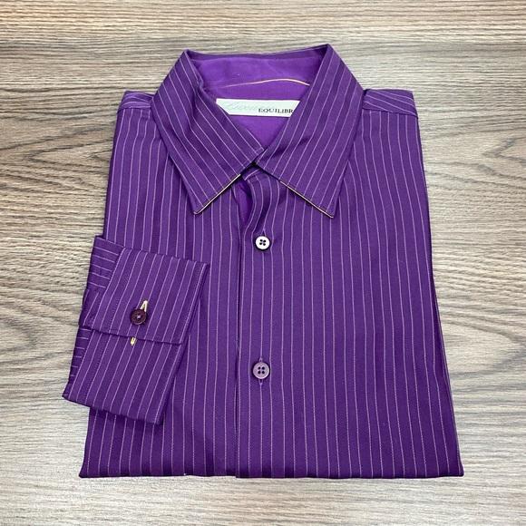 Equilibrio Purple w/ Gold Stripe Shirt L